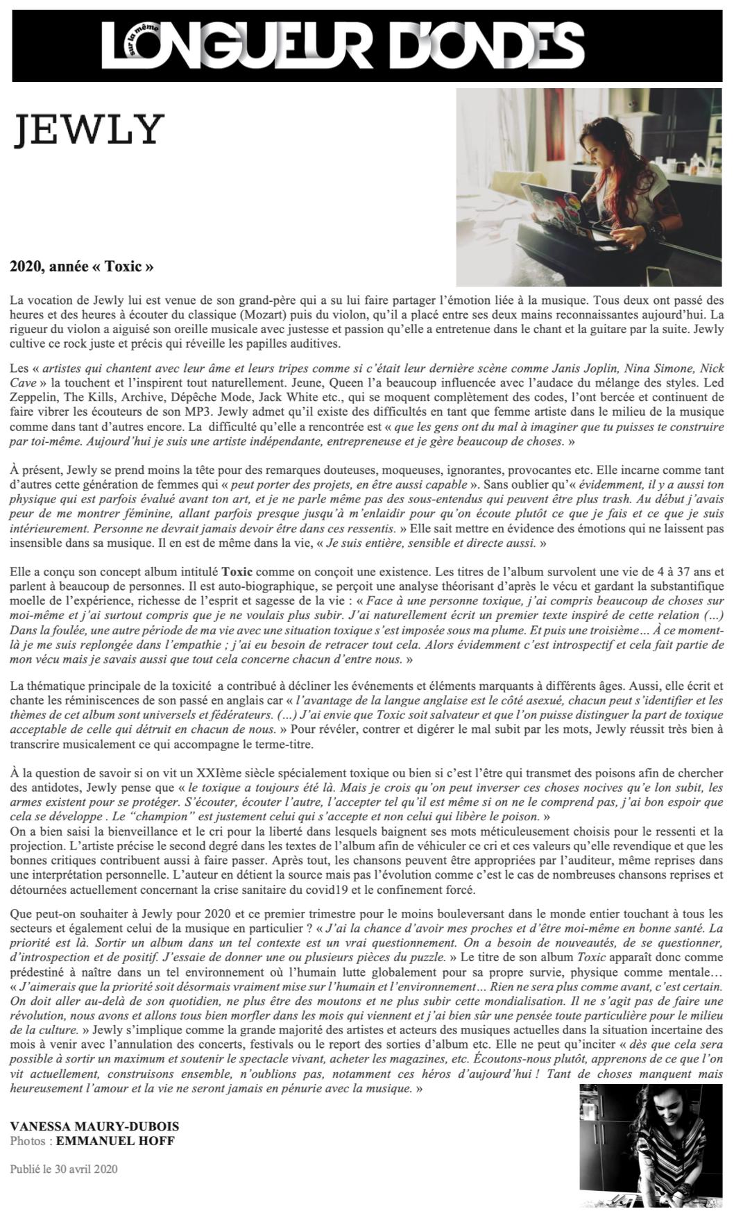 Longueur d'Ondes - 30/04/20