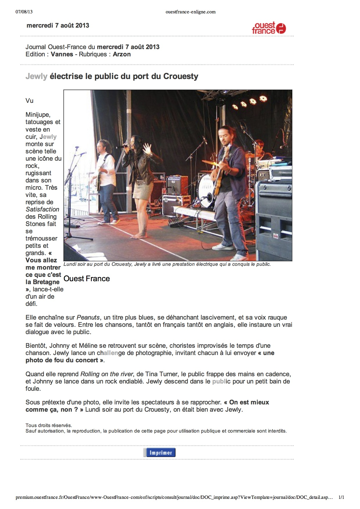 OUEST FRANCE – 07/08/2013